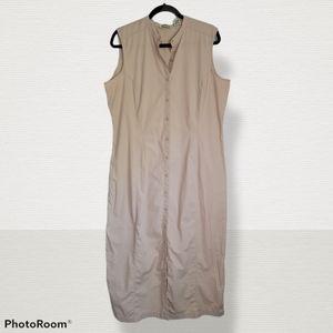 Eddie Bauer long buttondown sleeveless dress, 18